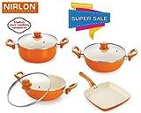 Nirlon Ceramic Cookware Set, 4-Pieces, Orange (42_43_45_46) Amazon