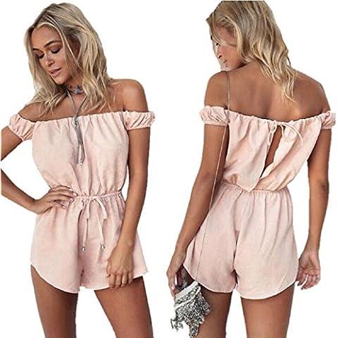 Sannysis - Monos mujer body de Fuera del hombro de algodón, Pantalones cortos, color rosa