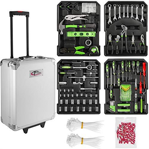 Tectake 699 set di attrezzi trolley valigia alluminio portattrezzi porta utensili cassetta