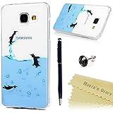 Samsung Galaxy A3 2016 Funda Silicona Gel TPU Transparente Ultra Slim - Mavis's Diary Carcasa Case Bumper Shock-Absorción y Anti-Arañazos - pingüino