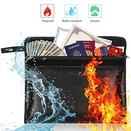 Feuerfeste Dokumententasche - Amzdeal Geld Tasche Feuerfeste Wasserresistente Tasche für Bargeld, Pässe, Karten, Dokumente und Schmuck, Hochwertigem Silikon Fiberglas, Nicht-juckende 40 x 28cm