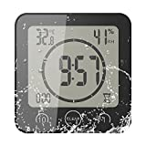 FORNORM Shower Clock Dusche Uhr Wasserdicht, Badezimmer Uhr Digital mit Saugnapf LCD Display Luftfeuchtigkeit Temperatur Wanduhren, AM/PM Oder 24 Stunden Format, Batterien, Countdown Timer, Schwarz