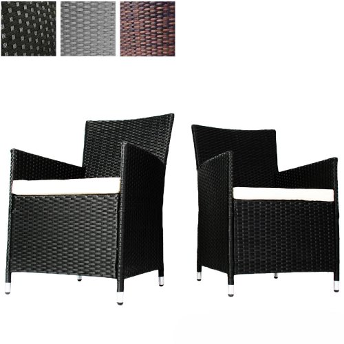 miadomodo set of 2 polyrattan chairs with seat cushions