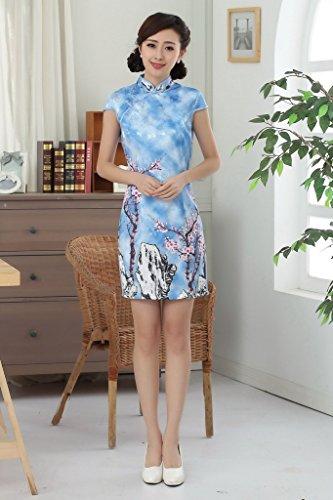 Bigood Robe Soirée Femme Cheongsam Qipao Fleur Court Mince Elégant Bleu