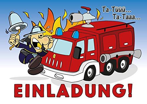 Preisvergleich Produktbild 6-er Kartenset mit Feuerwehrauto, Blaulicht, Flammen und einem Feuerwehrmann, Kindergeburtstag-Einladungskarten für die Geburtstags-Party