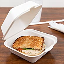 Take out Boxes Clamshell incernierato biodegradabile to go, contenitori per alimenti – 15,2 x 15,2 cm in. 125 count. – bianco