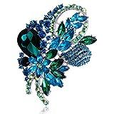 Diamant Blumen Form Brosche Nadel Anstecker Brooch Geschenk Schmuck - Grün