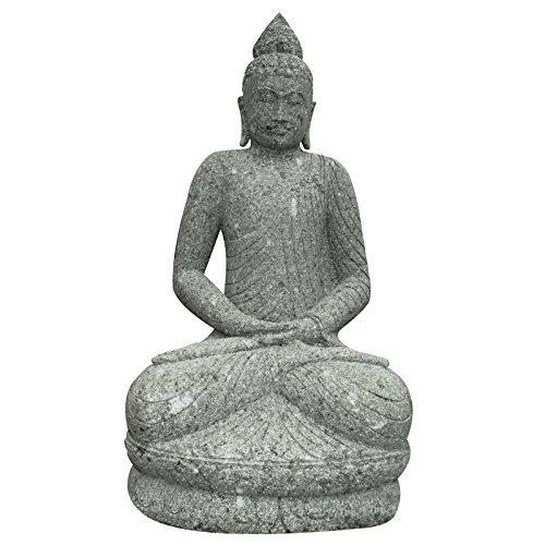 Buddha Skulptur sitzend meditierend 100cm Green Stone Steinfigur Gartenfigur