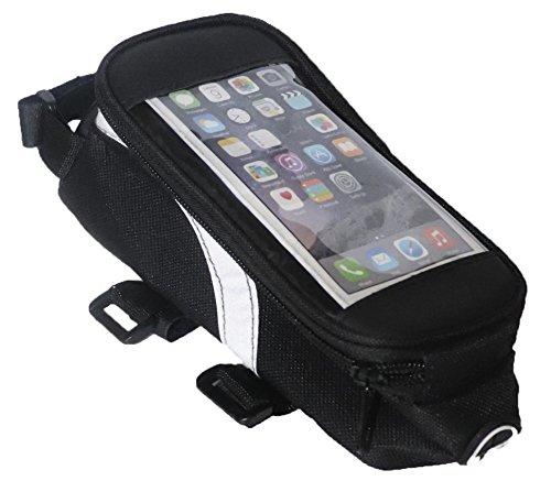 Lauf des Lebens Fahrrad Rahmentasche, Velotasche für Smartphone, Wasserdicht mit Kopfhörer Ausgang, Rennrad MTB Handy Tasche, Fahrradtasche in Schwarz