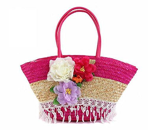 Tote tessuto a maglia di panno del fiore della paglia del fiore della spalla delle donne che lavorano a maglia il tatuaggio di estate di estate di viaggio di piacere , yellow rose red