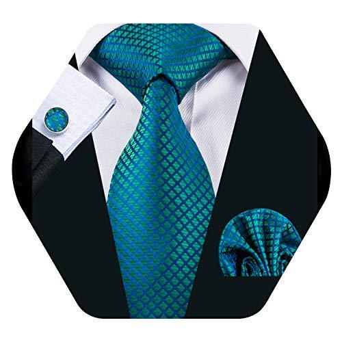 Barry.Pañuelo de bolsillo de corbata de seda azul Wang para hombre Corbata a cuadros con gemelos