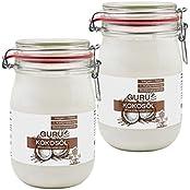 Guru Kokosöl nativ & naturrein -Bio Qualität- (2x1000ml Bügel-Glas)