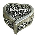 Unendlich U Luxus Schmuckkästchen Retro Style Antique Herz und Rose mit klein schmuckkasten für Damen,Reines Zinn-Schmuckstück,Silber