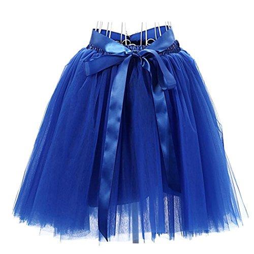 hten Knielang Tüllrock Tutu Tüll Kleid Rock Reifrock Abendrock Königsblau (Tutu Kleid Für Frauen)