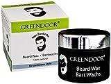 NEU: Greendoor BARTWACHS / Beard Wax, 50ml Premium Bart-Styling im Schwarzglas-Tiegel, ohne Duftzusatz, 100% Natur aus der Naturkosmetik Manufaktur, Bart Wachs für besseren Halt von Bart / Vollbart, schönes edles Geschenk, Bart Wax