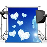 Sunny Star 5X7FT Happy Valentine's Day Backdrop Sweet Hearts Blue Sky White Cloud Bokeh Sunshine Nature Romantic Wallpaper Vinyl Photography Background Girls Lover Wedding Party Photo Studio Props CA1002