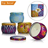 Yinuo Mirror Scented Candle Gift Sets, 4 Pack(620g) Soy Wax Natural Vegan Candles with Travel Tin of 4 Oz, Prefect for Birthday Bath Yoga Christmas Mother's Valentine's Day Anniversary