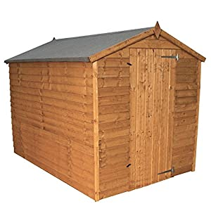 WALTONS EST. 1878 7x5 Wooden Garden Storage Shed, Overlap Construction Dip Treated with 10 Year Guarantee, Windowless, Single Door, Apex Roof, Roof Felt & Floor Included, (7 x 5 / 7Ft x 5Ft) 3-5 Day Delivery