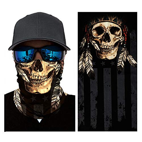 ITODA Multifunktionstuch Unisex Motorradmaske für Herren Damen Balaclava Sonnenschutz Funktionstuch 3D Kopfhaube Bedrucktes Kopftuch Elastische Sturmhaube Gesichtsmaske für Motorrad Radsport
