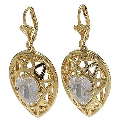 Judith Williams - Große vergoldete Damen Ohrhänger Ohrringe großen tropfenförmigen Zirkonia - FSX304