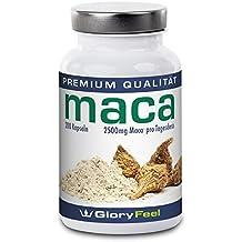 Maca Kapseln Hochdosiert 2500 mg - VERGLEICHSSIEGER 2018* - 200 vegane Kapseln Original Maca-Pulver - Bis zu 7 Monate Versorgung für Männer und Frauen - Ohne Magnesiumstearate plus Vitamin B12 - Nahrungsergänzung von GloryFeel