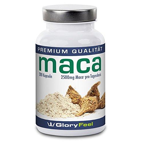 Maca Kapseln Hochdosiert 2500 mg - Der VERGLEICHSSIEGER 2018* - 200 vegane Kapseln Original Maca-Pulver - Bis zu 7 Monate Versorgung für Männer und Frauen - Ohne Magnesiumstearate plus Vitamin B12 - Nahrungsergänzung von GloryFeel