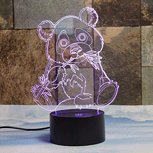 3D Panda Illusions LED Lampen Tolle 7 Farbwechsel Acryl berühren Tabelle Schreibtisch-Nacht licht mit USB-Kabel für Kinder Schlafzimmer Geburtstagsgeschenke Geschenk.