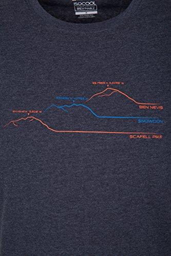 Mountain Warehouse Herren Baumwolle Rundhals Ausschnitt Kurzarm T-Shirt gedruckt 3 Peaks Freizeit Sportlich Alltag Camping Urlaub Kohle