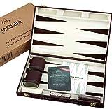 Jaques of London Set de Backgammon - 37cm - Set de Backgammon de Luxe - Backgammon Voyage