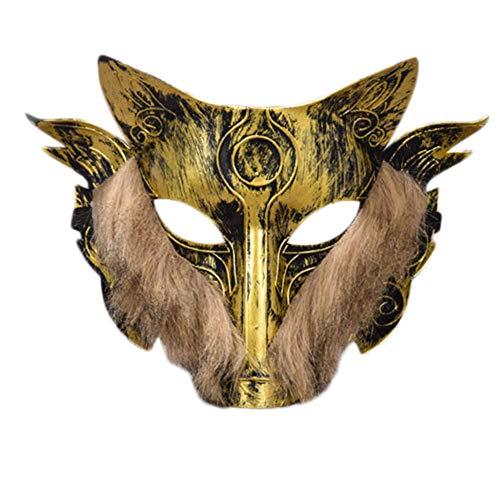 aske Werwolf Maske Cosplay Maske Geeignet für Halloween Kostüm Party, Kunststoff Gold ()