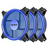 upHere 120 mm blau Silent Fan für Computer Fällen, CPU, Kühler und Heizungen Ultra Leise hoher Luftstrom Computer Case Fan, 3 Pin Zwei Pack,B12CM3-3