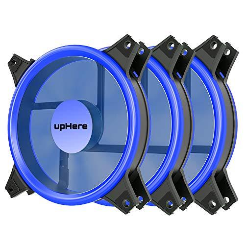 3 Heizung Pack (upHere 120 mm blau Silent Fan für Computer Fällen, CPU, Kühler und Heizungen Ultra Leise hoher Luftstrom Computer Case Fan, 3 Pin Zwei Pack,B12CM3-3)