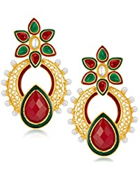 Sukkhi Creative Gold Plated Australian Diamond Earrings For Women