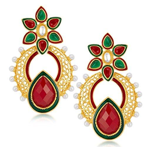 Sukkhi Creative Gold Plated Australian Diamond Earrings For Women