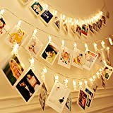 20 LED Photo Clip String Lights,3 Modes 7.2 Ft Christmas Indoor Battery Powered Fairy String Lights for Hanging Photos Pictures Cards and Memos, Ideal gift for Dorms Bedroom Decoration(Warm White)