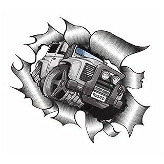 Sticar-it Ltd ZERRISSENES METALL Auto-aufkleber Koolart design für Land Rover Defender Twisted Vinyl aufkleber - Multi, Small 105x130mm approx