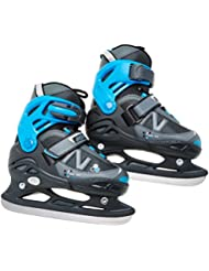 Nijdam Eishockeyschlittschuhe verstellbar Icehockey Skates - Patines de hockey sobre hielo, color negro, talla 31-34
