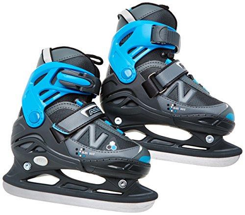 Nijdam Kinder Eishockeyschlittschuhe verstellbar Icehockey Skates, Anthrazit-Grau-Blau, 35-38, 1018488 -