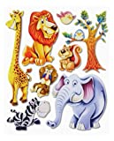 Stickerkoenig Wandtattoo 3D Sticker Wandsticker Kinderzimmer - Afrika Tiere II #502 ( Giraffe,Löwe, Elefant, Zebra uvm ) - Deko auch für Fenster, Schränke, Türen etc auf Bogen