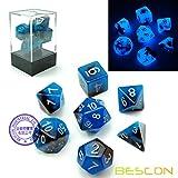 bescon Two-Tone Glow-in-the-dark Polyhedral dados Set Azul Dawn, luminoso RPG dados Set D4D6D8D10D12D20D% caja de ladrillos)