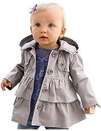 freebily Bébé Filles Volants Manteau à Capuche Gris Trench-coat Manches Longues Bouton Printemps Automne Manteau Vent Veste 6 Mois - 5 Ans