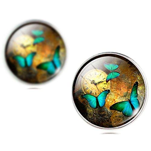 Frauen Jahrgang Uhr Grün Schmetterling Ohrstecker Ohrringe - 2