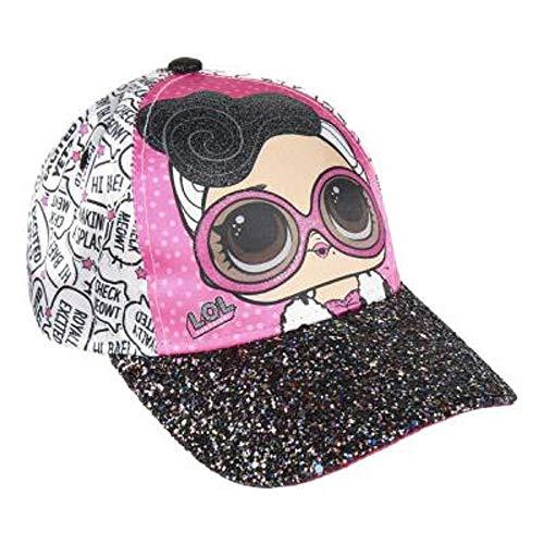 Berretto da Baseball Bambina | Cappellino con Visiera per Bambini in Rosa Azzurro O Glitter | Prodotto Ufficiale Accessori Bimba Bambole LOL Confetti Pop per L'Estate (Bianco - Glitter)