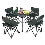 Aszhdfihas Leichte Outdoor Camp Portable Klapptisch Net Stühle Set w/Tragetasche, 4 Stühle + 1 Tisch, kompakte Größe für Camping, Reisen, Angeln, BBQ für Outdoor Camping Picknick