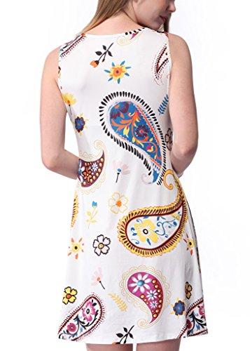 Meijunter Mode été Femmes Vintage Floral Print Dress Sans manches Long jupe white