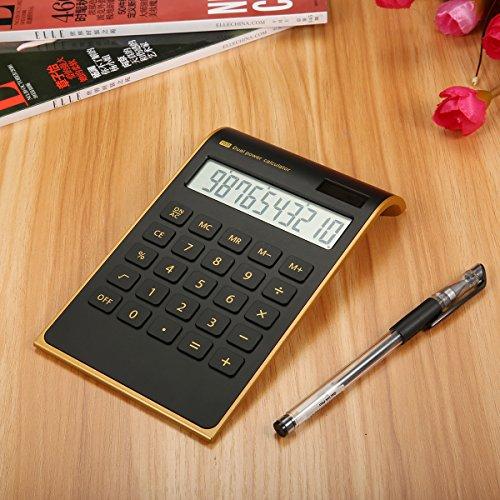 Caveen Taschenrechner Standard Business Tischrechner Schwarz/Weiß Dual-Power (Solar und Batterie) Schwarz