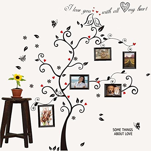 rainbow-fox-kiss-birds-trees-hearts-leaves-black-photo-picture-frame-decal-removable-wall-decals-lar