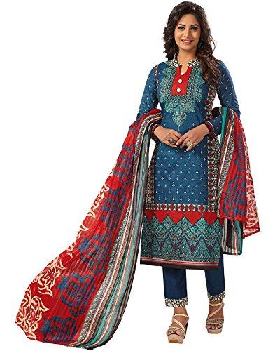 Jevi Prints Blue Unstitched Women's Pakistani Lawn Cotton Block Printed Punjabi Suit...