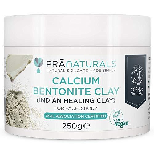 Masque à l'argile de Bentonite PraNaturals 250g - Purifie naturellement la peau et les pores profonds - Poudre d'argile pure et Montmorillonite de calcium - 100% Bio