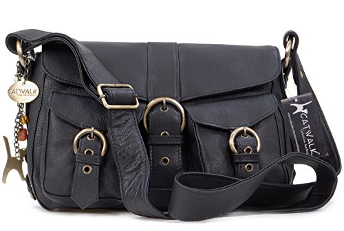 "Borsa in pelle a tracolla di Catwalk Collection ""Louisa"" - Nero"